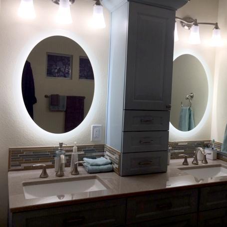 """Side-Lighted LED Bathroom Vanity Mirror: 32"""" x 40"""" - Oval ."""