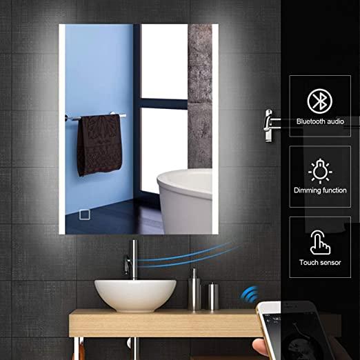 "Amazon.com: HEYNEMO 32""x24"" Bluetooth Bathroom LED Lighted Vanity ."