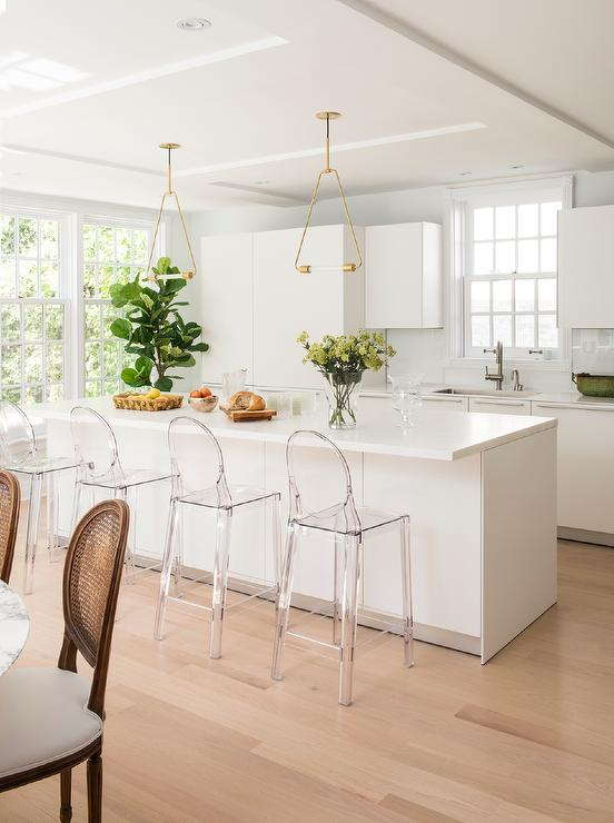 Brass Triangle Pendant Lights Over Kitchen Island - Transitional .