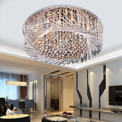 Swirl Crystal Glass Flush Mount Light Fixture Modern Sparkling .