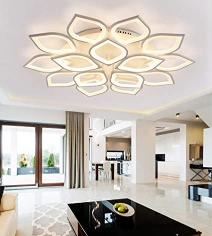 LITFAD 15 Heads Petal Semi Flush Light Monochromatic LED Ceiling .