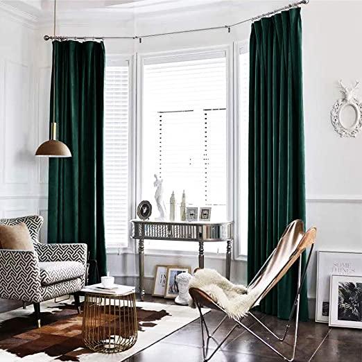 Amazon.com: jinchan Velvet Curtain Green Living Room Rod Pocket .