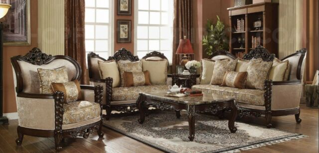 Traditional Victorian Luxury Sofa & Love Seat Formal Living Room .