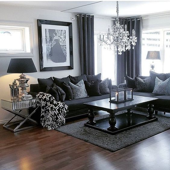 100 Modern Home Decor Ideas | Dark living rooms, Black furniture .