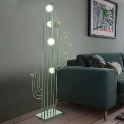 Iron Cactus Frame Floor Standing Lamp Minimalist LED Stand Up .