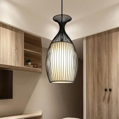 Black Round/Gourd/Lantern Pendant Ceiling Light Country Fabric 1 .