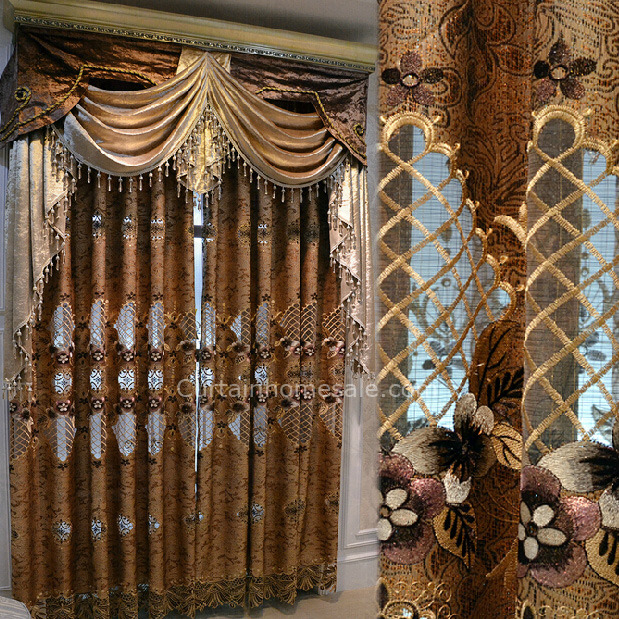 Luxury Victorian Vintage Living Room Curtain In Gold Brown Color .