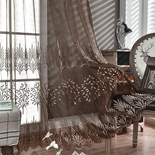 Amazon.com: DONREN Luxury Brown Sheer Curtains for Living Room .