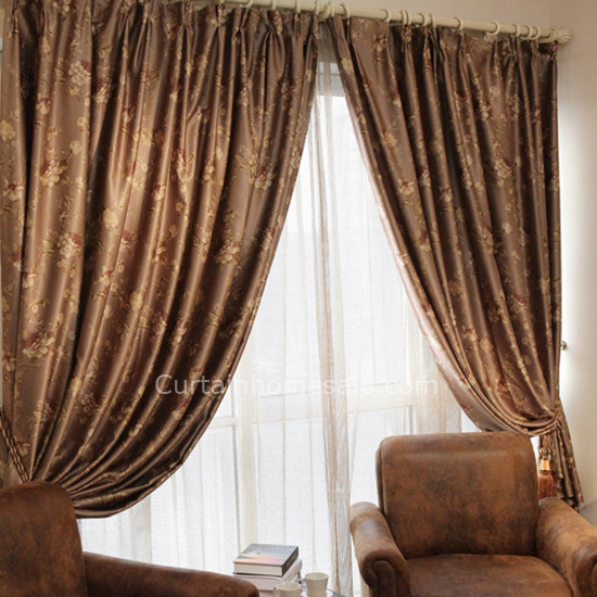 French Floral Patterns Blackout Living Room Luxurious Tall Window .