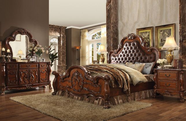 Dresden Ornate Upholstered 4pc King Bedroom Set In Traditional .