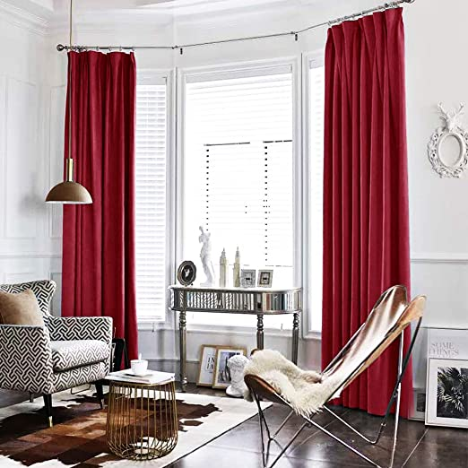 Amazon.com: Burgundy Red Curtains Velvet Drapes Bedroom Window .