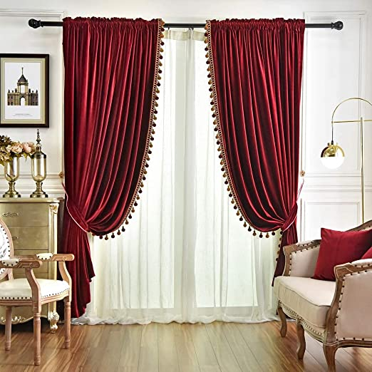 Amazon.com: QSH Queen's House Luxury Burgundy Window Curtains Pom .