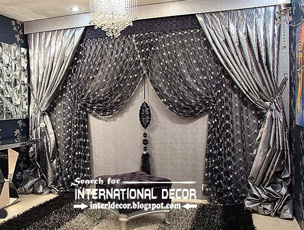 Luxury black and silver curtain design for living room | Curtain .
