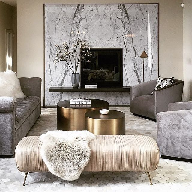 LUXURY LIVING ROOM | Grays, champagne and gold.| www.bocadolobo .