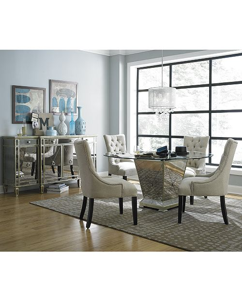 "Furniture Marais Dining Room Furniture, 5 Piece Set (60"" Mirrored ."
