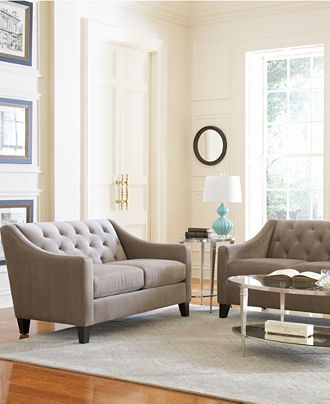 Chloe Velvet Tufted Sofa Living Room Furniture Collection, Created .