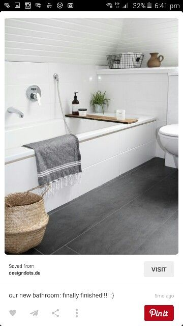 White bathroom concrete look tiles … | Minimalism interior, Modern .