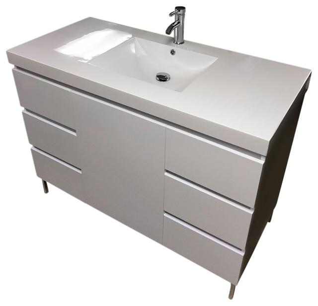 "48"" Modern Bathroom Vanity High Gloss White - Contemporary ."
