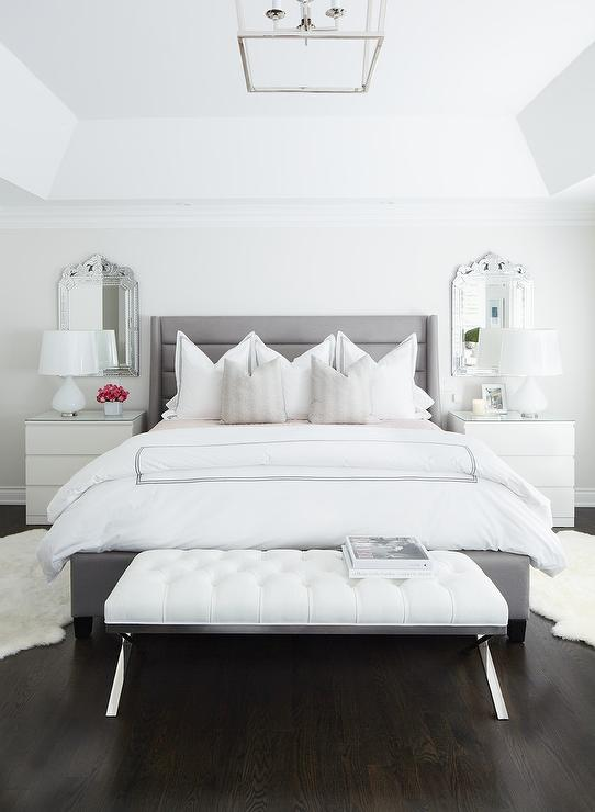 Gray Channel Tufted Bed with White Leather Tufted Bench - Modern .