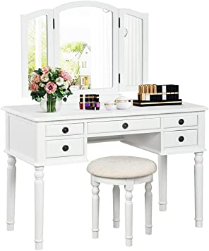 Amazon.com: CHARMAID Vanity Set with Tri-Folding Mirror and 5 .
