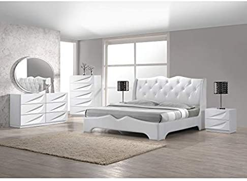 Amazon.com: Best Master Furniture 5 Pcs Modern Lacquer Bedroom Set .
