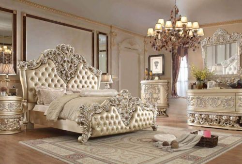 Bedroom Sets 20480: Luxury Bedroom Set #8030 White Eastern King .