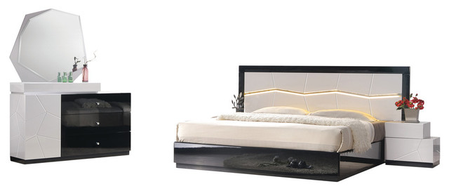 Modern White and Black Platform 5-Piece Bedroom Set, LED Light .