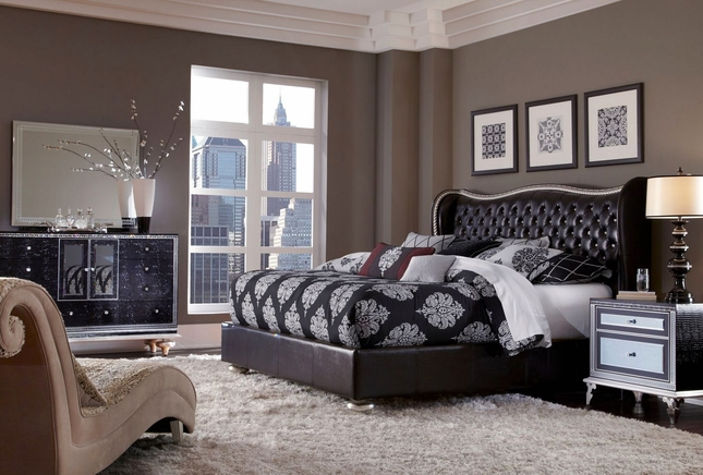 Hollywood Swank Modern Starry Night Black Leather 4pc King Bedroom S