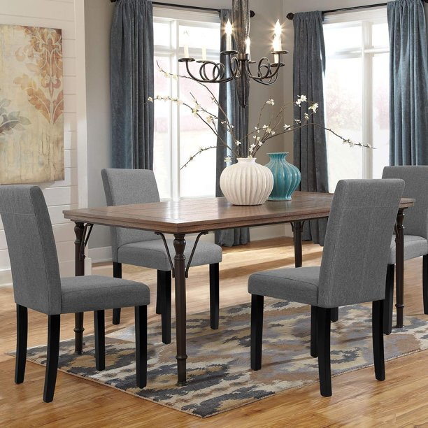 Walnew Set of 4 Modern Upholstered Dining Chairs with Wood Legs .
