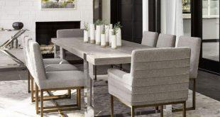 Modern Desmond Dining Room Set (Flint) W/ Cooper Quartz Chairs .