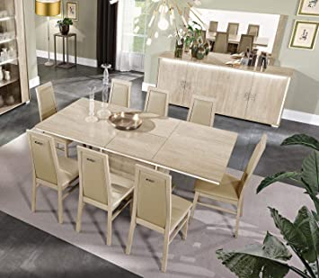 Amazon.com - Glossy Beige Finish Dining Room Set 7Pcs Modern Made .