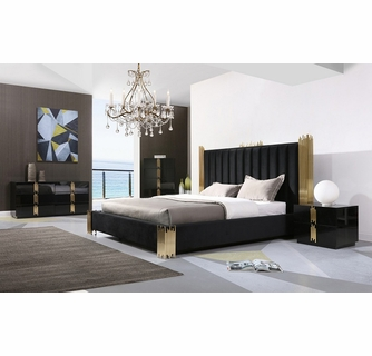 Modrest Token Modern 5-Pc Black/Gold King Bedroom Set by VIG Furnitu