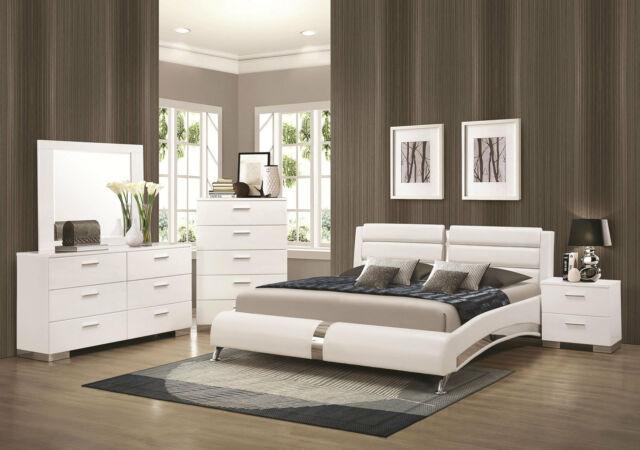 White Leather Pattern Headboard King Size Bedroom Set 3Pcs VIG .