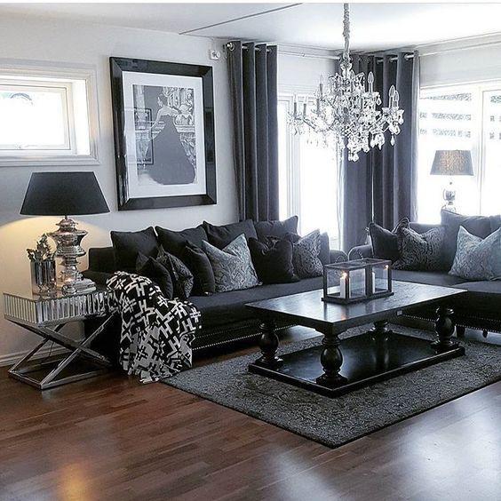 100 Modern Home Decor Ideas   Dark living rooms, Black furniture .