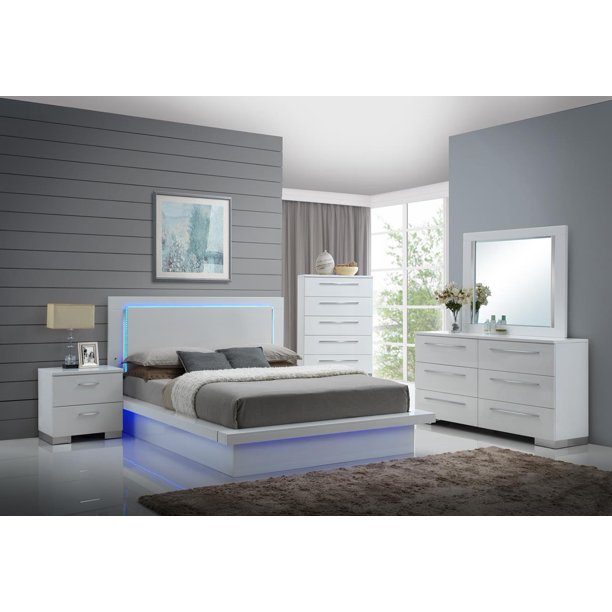 Saturn LED Light Modern 5 Piece Queen Bedroom Set with 2 .