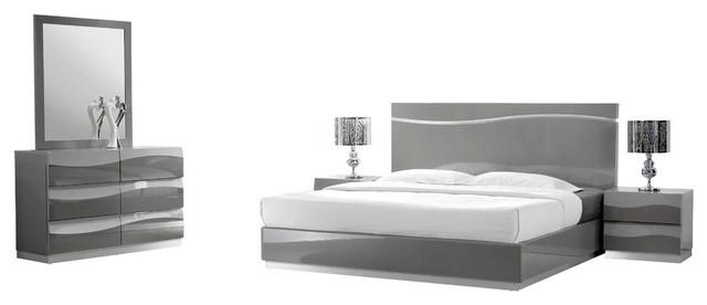 Leon Gray Modern 5-Piece Bedroom Set - Contemporary - Bedroom .