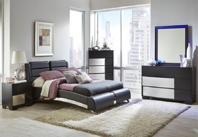 Jeremaine 4 Piece Modern Queen Bedroom Set in Bla