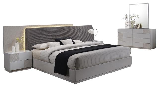 Naple, Silver Line Gray 5-Piece Modern Platform Bedroom Set .