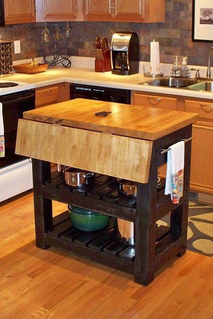 Gorgeous Drop Leaf Butcher Block Kitchen Island Design | Kitchen .