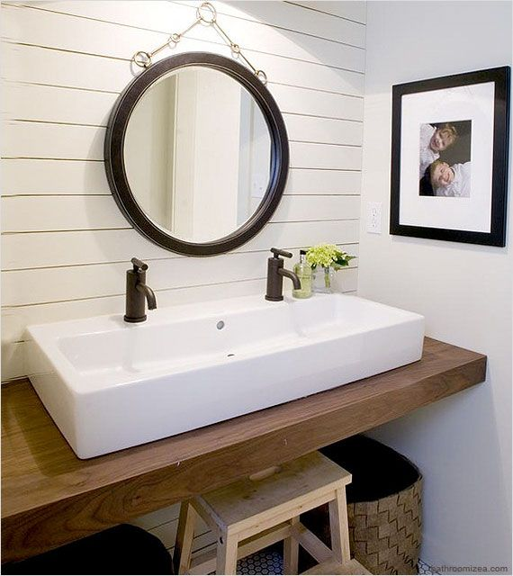 No room for a double sink vanity? Try a trough style sink with two .