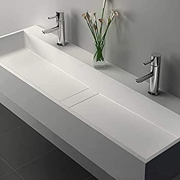 Weibath 47 Inch Wall-Mount Double Sink Stone Resin Trough Bathroom .