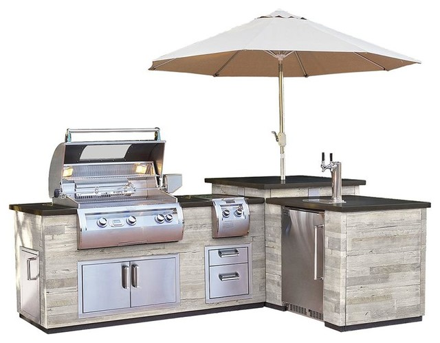 "Fire Magic ""L""Outdoor Kitchen Island Silver Pine - ISLAND ONLY ."