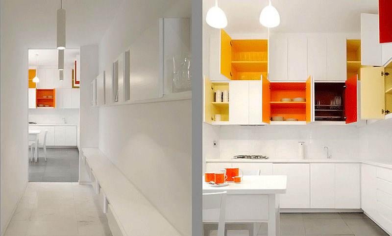 paint bright colors inside your white kitchen cabinets .