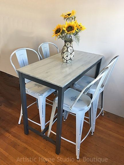 Industrial Bar-height Table & 4 Metal Chairs | Metal chairs, Metal .