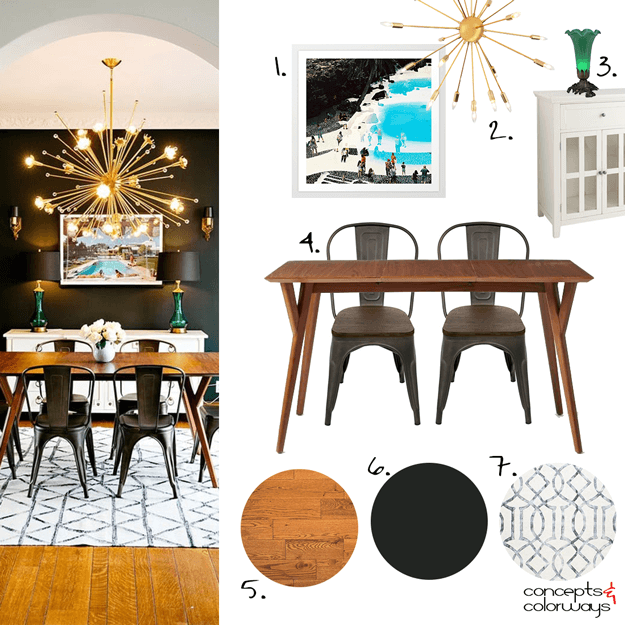 DRAMATIC FLAIR - Concepts and Colorways | Midcentury modern dining .