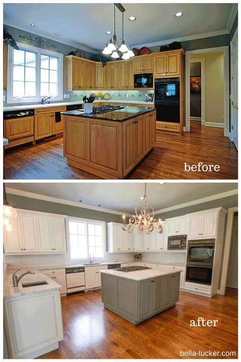 40+ Trendy painting kitchen cabinets before and after | Brown .