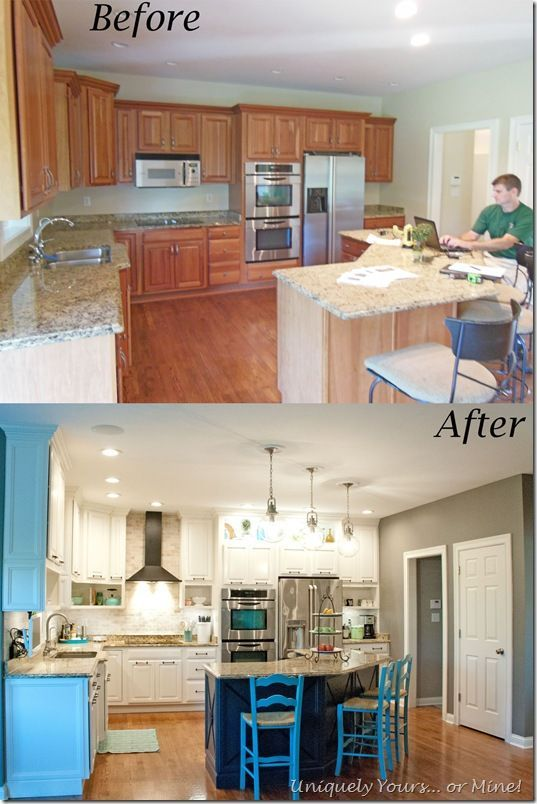 before and after of DIY kitchen remodel, raised kitchen cabinets .