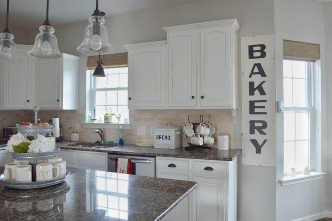 Farmhouse style kitchen, White cabinets, Rae Dunn, Sherwin .