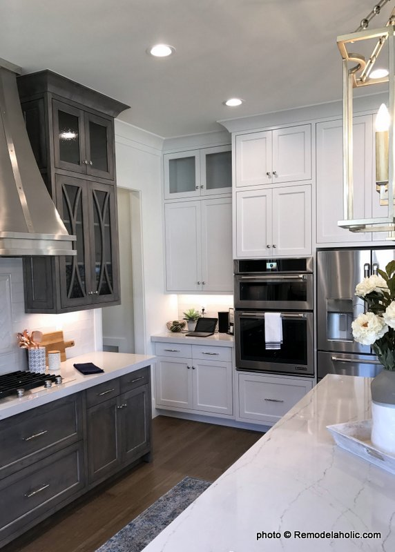 Remodelaholic | Grey and White Kitchen Cabinet Ide