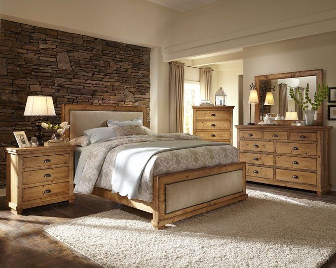 Reclaimed wood style Bedroom set. Upholstered headboard. Willow .